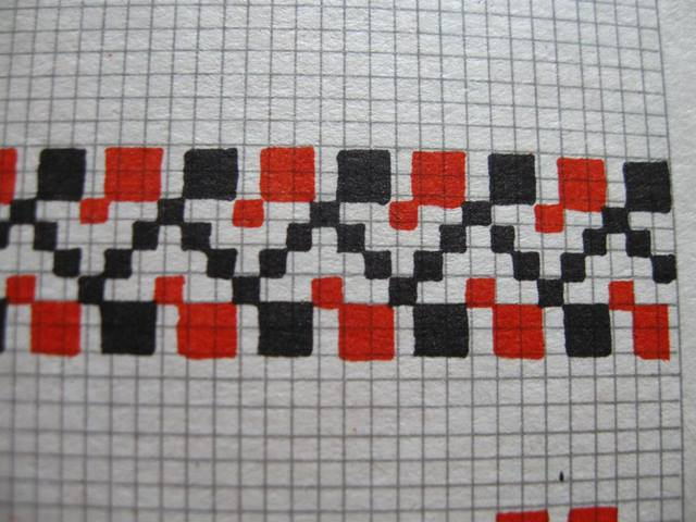 вишивання орнаменту двома кольорами